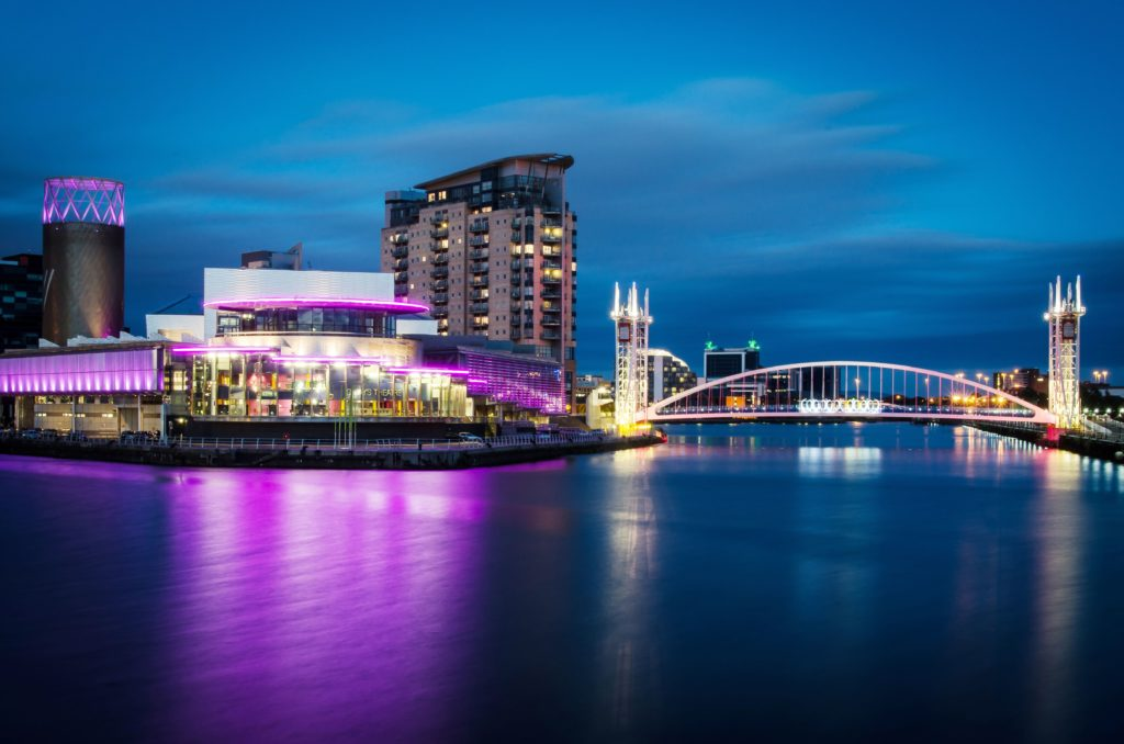 The Lowry at night, Salford Quays, Manchester, United Kingdom.